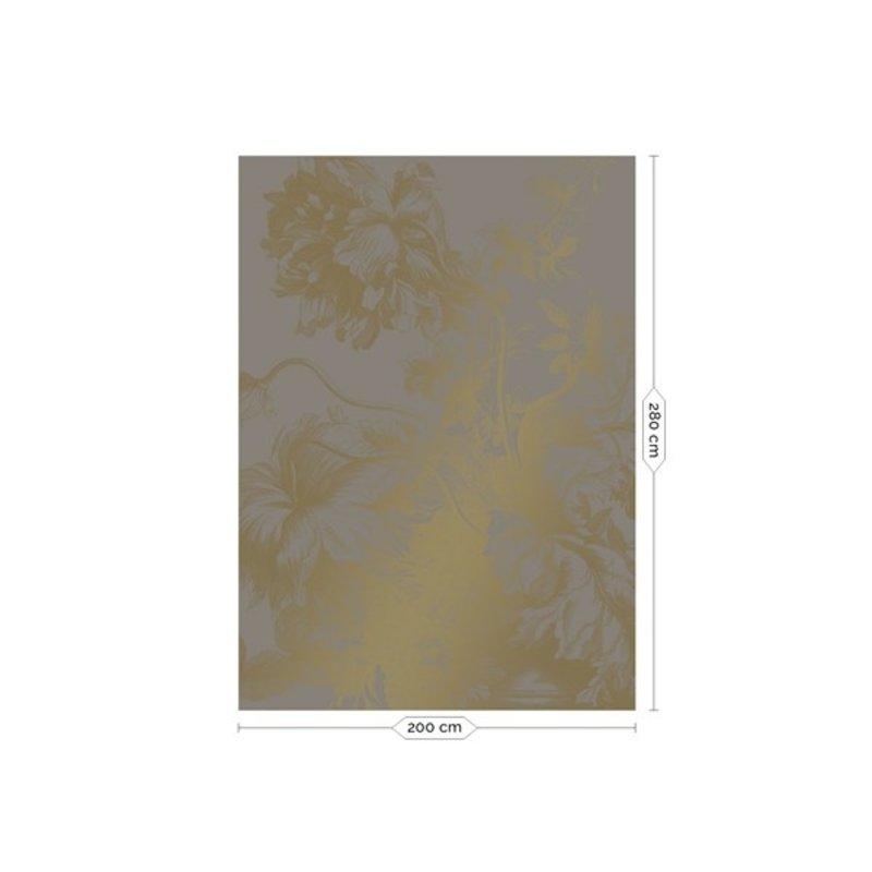 KEK Amsterdam-collectie  Gold Wallpaper Engraved Flowers Grey