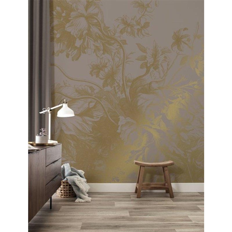 KEK Amsterdam-collectie Goud behang Engraved Flowers  Grijs