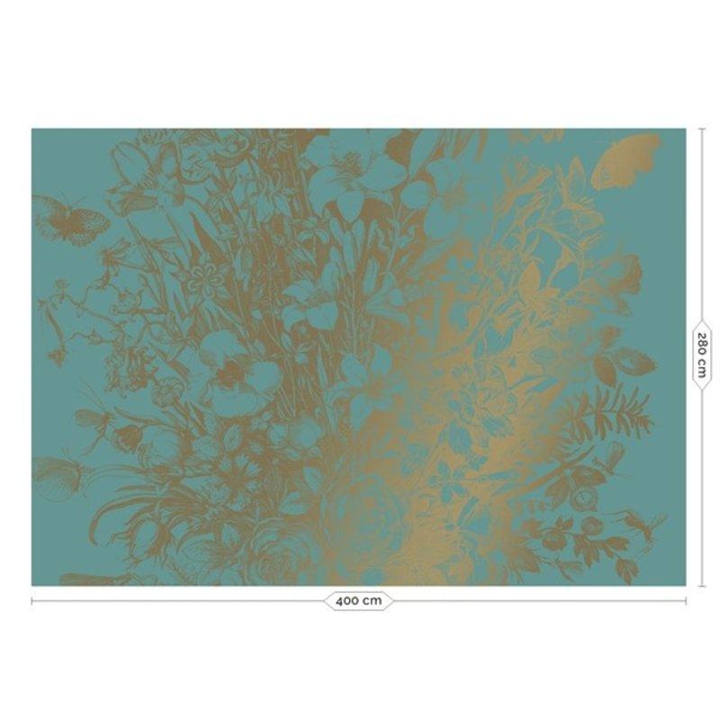 KEK Amsterdam-collectie Goud behang Engraved Flowers Mint