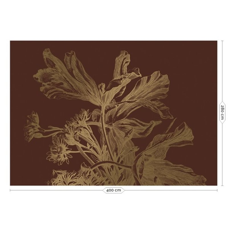 KEK Amsterdam-collectie Goud behang Engraved Flowers Roest
