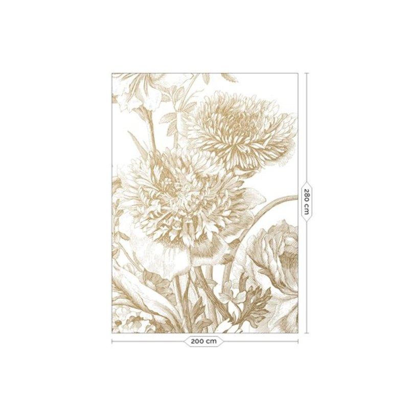 KEK Amsterdam-collectie Goud behang Engraved Flowers Wit