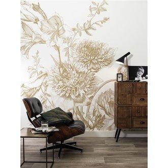 KEK Amsterdam Goud behang Engraved Flowers Wit