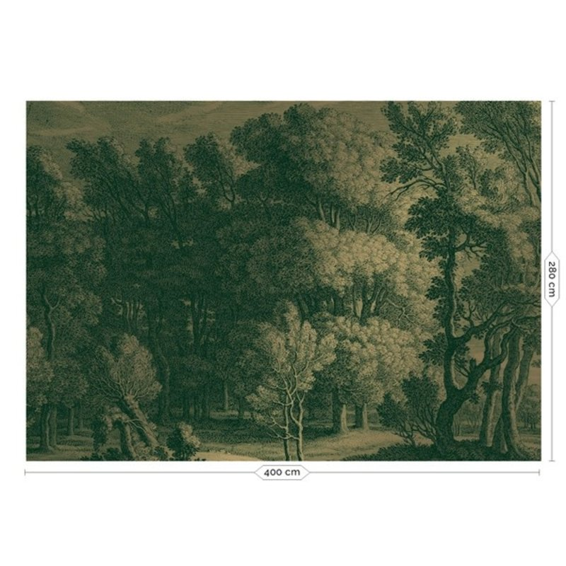 KEK Amsterdam-collectie Goud behang Engraved Landscapes Groen