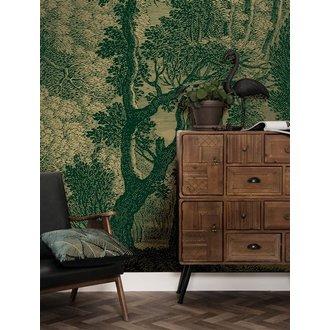 KEK Amsterdam Gold Wallpaper Engraved Landscapes Green