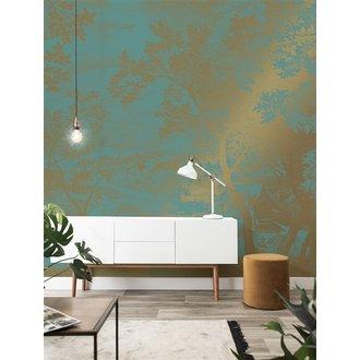 KEK Amsterdam Gold Wallpaper Engraved Landscapes Mint