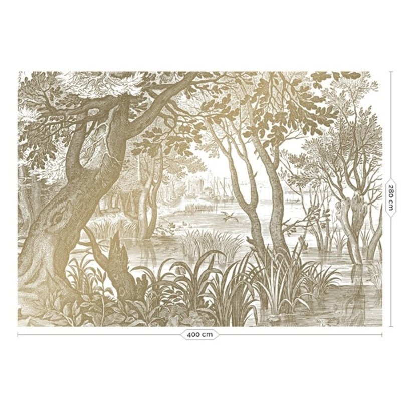 KEK Amsterdam-collectie Goud behang Engraved Landscapes Wit