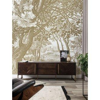 KEK Amsterdam Goud behang Engraved Landscapes Wit