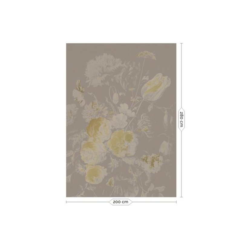 KEK Amsterdam-collectie  Gold Wallpaper Golden Age Flowers Grey
