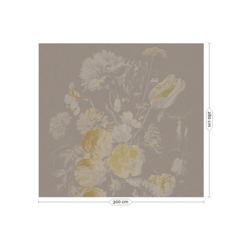 KEK Amsterdam-collectie Goud behang Golden Age Flowers Grijs
