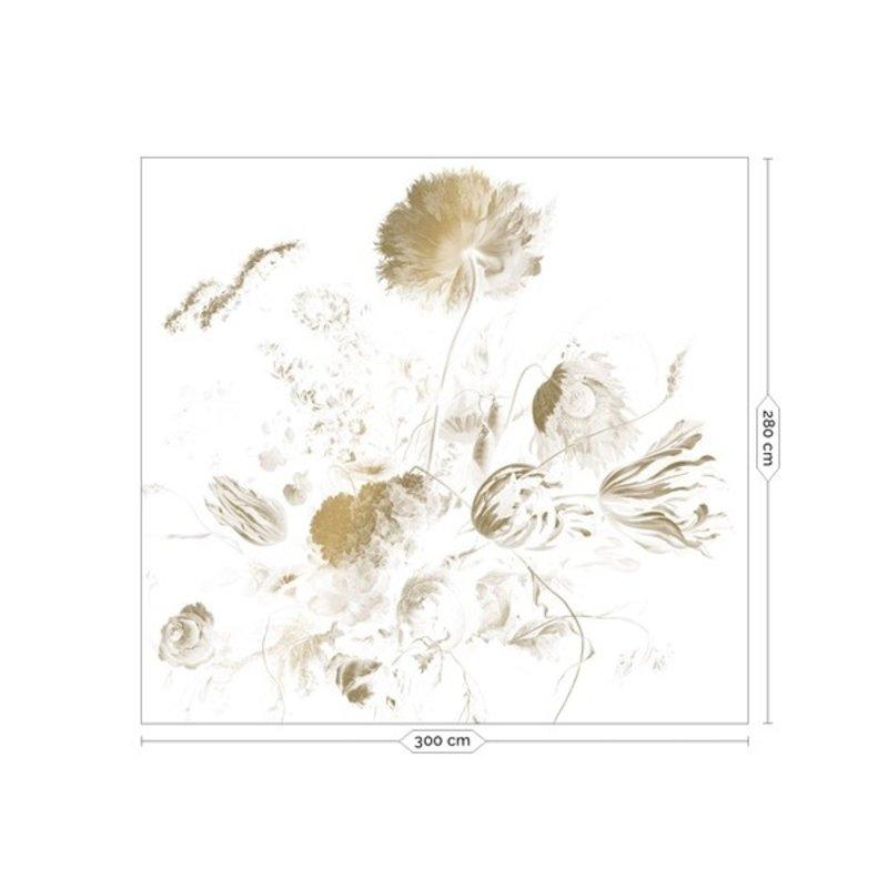 KEK Amsterdam-collectie Goud behang Golden Age Flowers Wit