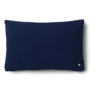 ferm LIVING Kussen Clean wol Boucle diep blauw
