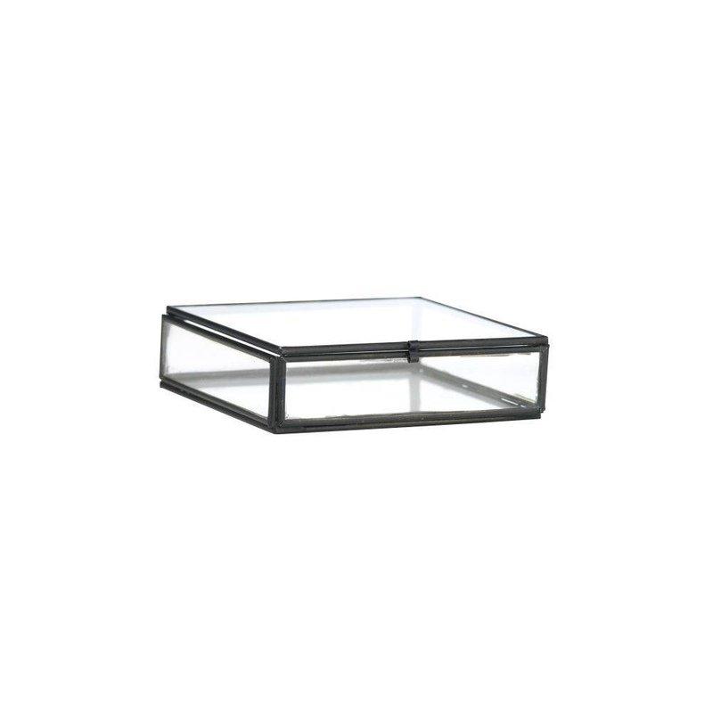 Madam Stoltz-collectie Glazen boxje zwart 10,5