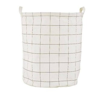 House Doctor Canvas laundry basket Squares