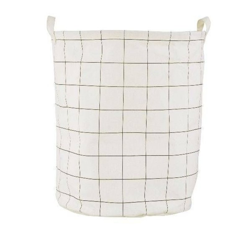 House Doctor-collectie Canvas laundry basket Squares