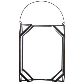 Madam Stoltz Glass lantern copper