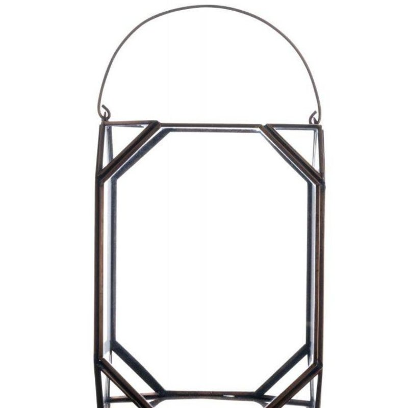 Madam Stoltz-collectie Glass lantern copper