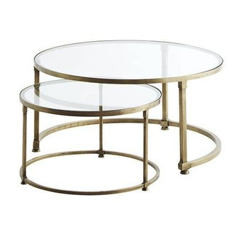 Madam Stoltz End Tables brass glass