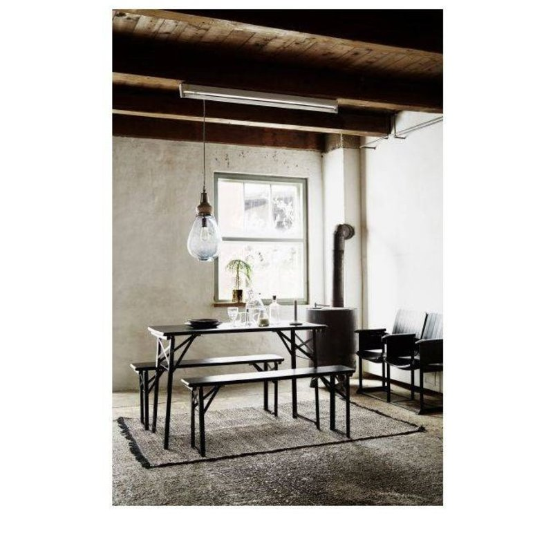 Madam Stoltz-collectie Table with two benches black