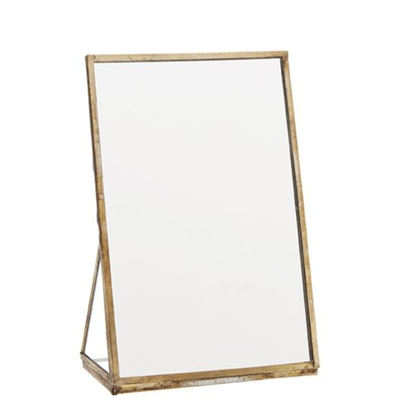 Madam Stoltz-collectie Standing mirror, ant. brass frame