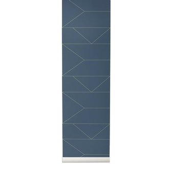ferm LIVING Behang Lines - Donkerblauw