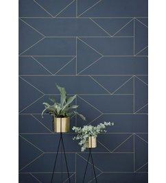 ferm LIVING-collectie Behang Lines - Donkerblauw