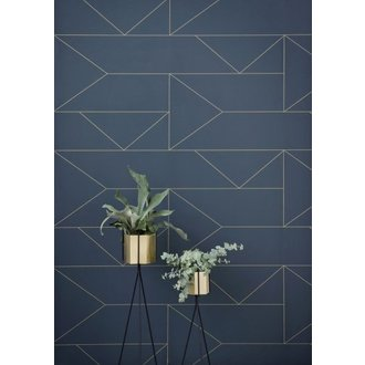 ferm LIVING Behang Lines - Donkerblauw