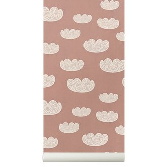 ferm LIVING Cloud behang - roze