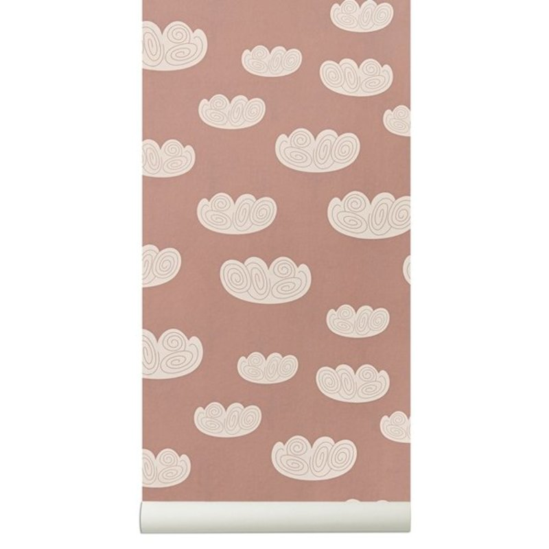 ferm LIVING-collectie Cloud behang - roze