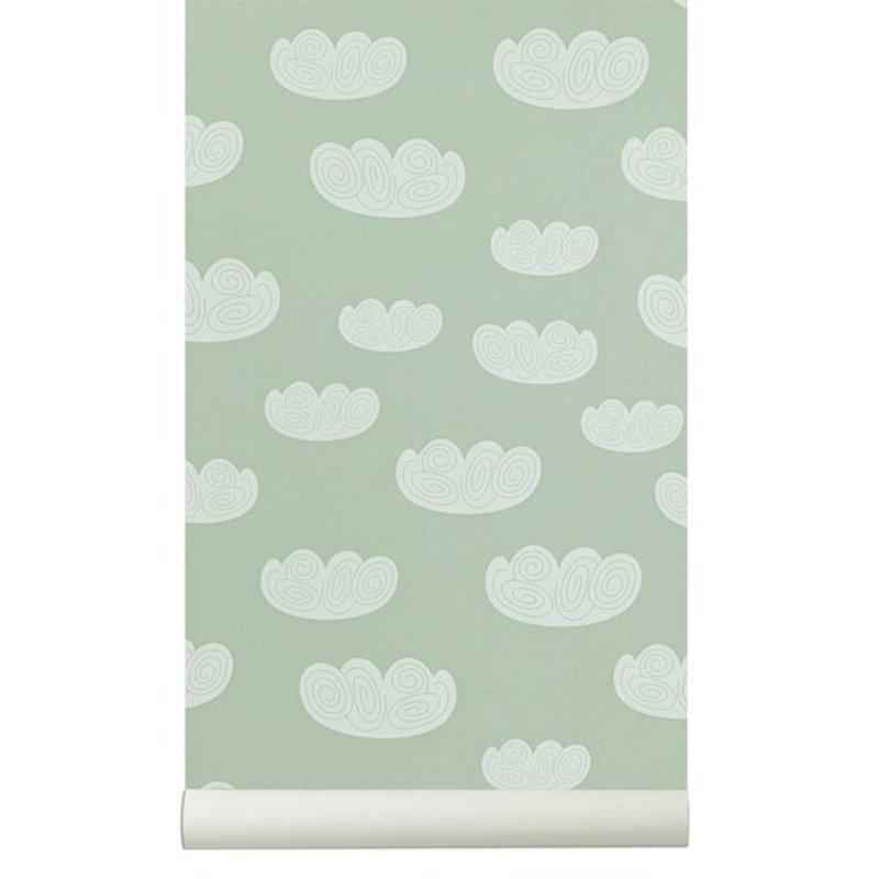 ferm LIVING-collectie Cloud Wallpaper - Mint