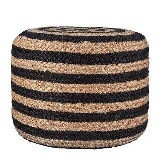 House Doctor Poof 'Hemp' jute with black stripe