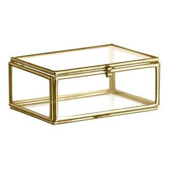 Madam Stoltz Glazen boxje goud 8,5x6 cm