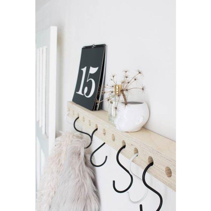 E|L by DEENS.NL-collectie Kapstok KEES met zwart wit haken