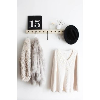 E|L by DEENS.NL Coat rack with KEES black and white crochet