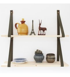 E|L by DEENS.NL-collectie Set (2) shelf supports 'PIEN' army green canvas