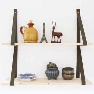 E|L by DEENS.NL Set (2) shelf supports 'PIEN' army green canvas
