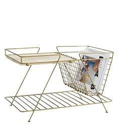 Madam Stoltz-collectie Magazine rack w/ wooden shelf , Ant.brass, wood, wire mesh, 2 tier