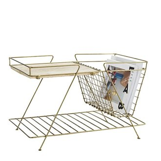 Madam Stoltz Magazine rack w/ wooden shelf , Ant.brass, wood, wire mesh, 2 tier