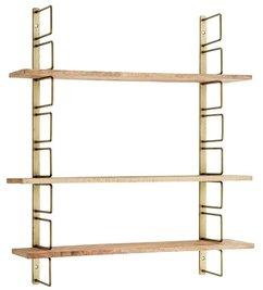 Madam Stoltz-collectie Wandrek antiek brass met houten planken