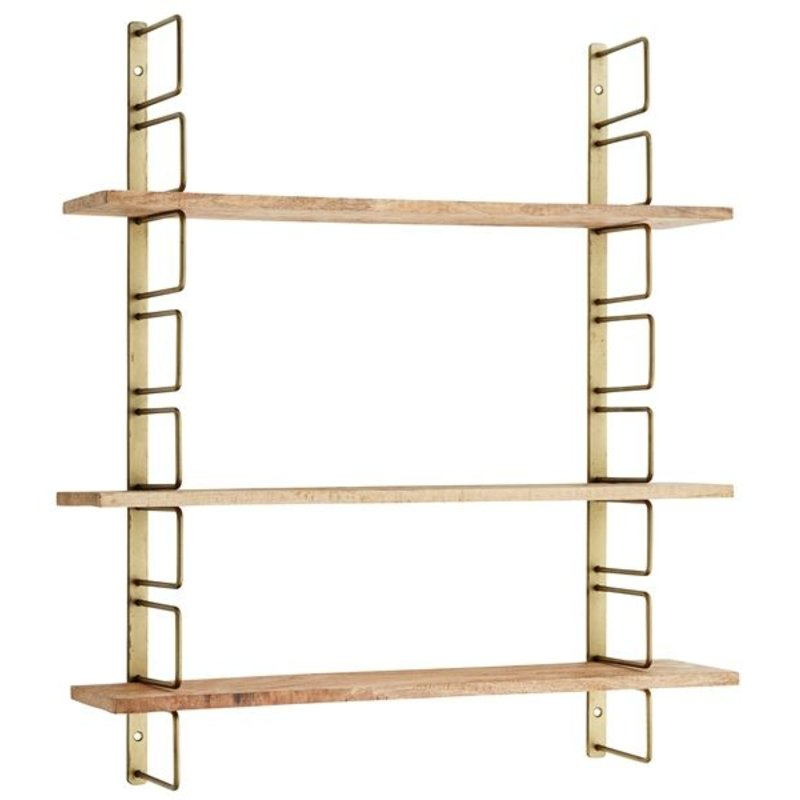 Madam Stoltz-collectie Antique brass wall rack with wooden planks
