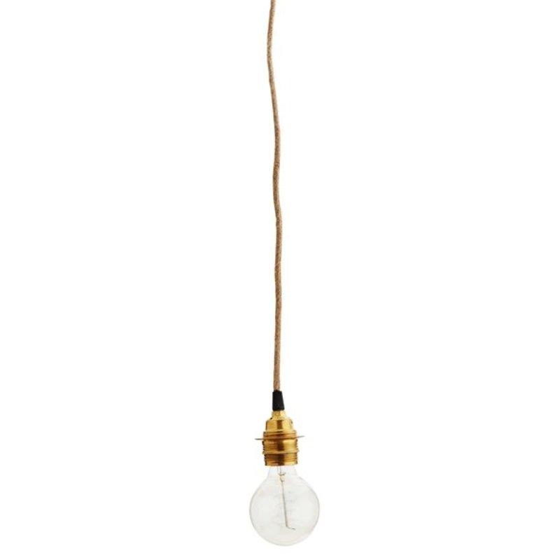 Madam Stoltz-collectie Jute lichtsnoer met gouden fitting