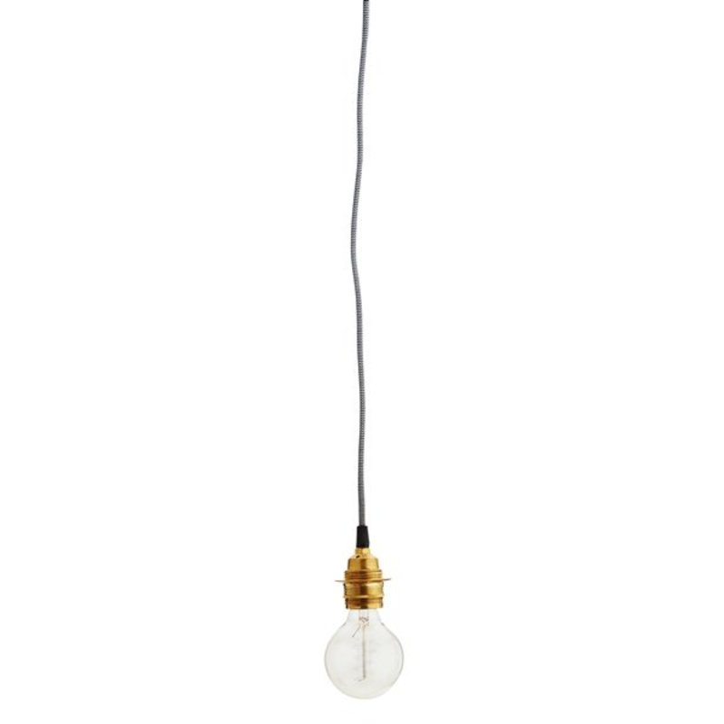 Madam Stoltz-collectie Textile Cord black and white with brass fitting