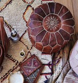 Authentieke, Marokkaanse poef van 100% kalfsleer ( donkerbruin)