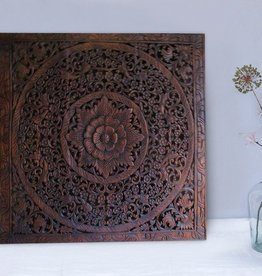 simply pure Hand carved wall panel LOTO dark brown