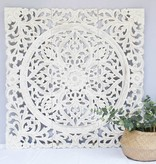 Handcarved wall decoration CLOVER antique white