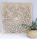 Handcarved wall decoration BLOSSOM whitewash