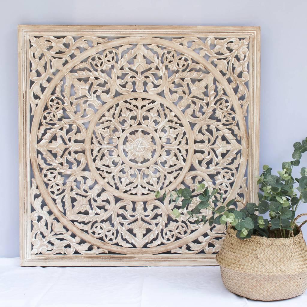 simply pure Geschnitzte Wanddekoration BLOSSOM whitewash