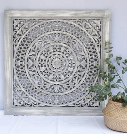 Geschnitzte Wanddekoration CIRCLE greywash