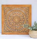 Handcarved wall decoration CIRCLE cognac