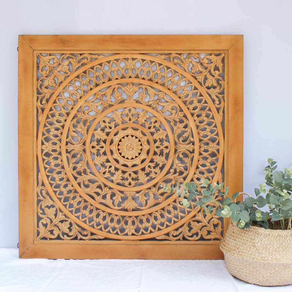 simply pure Handcarved wall decoration CIRCLE cognac