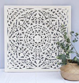 simply pure Handcarved wall decoration BLOSSOM antique white